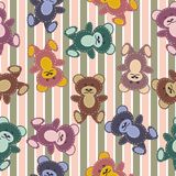Seamless pattern with scrapbook teddy bears Stock Photography