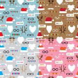 Seamless pattern scrapbooking vector set Santa, Royalty Free Stock Image