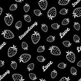 Seamless pattern with scratched Strawberries, summer harvest bac Stock Photo