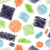 Seamless pattern with scribble brushes. Collection of ink lines, set of hand drawn textures, scribbles of pen, hatching, scratch. Stock Images