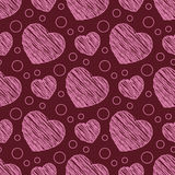 Seamless pattern with scribble hearts Stock Photography