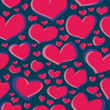 Seamless pattern scribble of red heart figures on a dark blue background for fabrics, wallpapers, tablecloths, prints and designs vector illustration