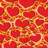 Seamless pattern scribble of red and yellow heart figures for fabrics, wallpapers, tablecloths, prints and designs. stock illustration