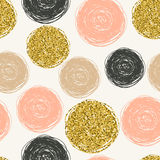 Seamless pattern with scribbles circles. Royalty Free Stock Images
