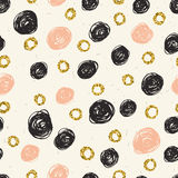 Seamless pattern with scribbles circles. Royalty Free Stock Photos