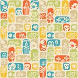 Seamless pattern with sculls, birds and flowers. Royalty Free Stock Images