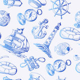 Seamless pattern with Sea Adventure elements in sketch style Royalty Free Stock Image