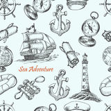 Seamless pattern with Sea Adventure elements in sketch style Stock Image