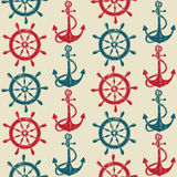 Seamless pattern of sea anchors and wheels Stock Photos