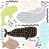 Seamless pattern with sea animal fur-seal,whale, octopus, fish. Childish texture for fabric, textile. Vector background. Stock Photo