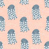 Seamless pattern with sea animal jelly fish, fish. Undersea Childish texture for fabric, textile. Vector background.  Royalty Free Stock Photos