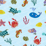 Seamless pattern with sea animals. Background with cute sea animals stock illustration