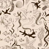 Seamless pattern of sea animals Royalty Free Stock Photography