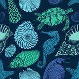 Seamless pattern of sea animals Stock Photo