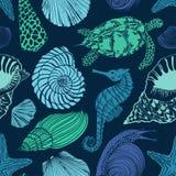 Seamless pattern of sea animals Stock Photo