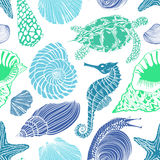 Seamless pattern of sea animals Royalty Free Stock Photos