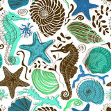 Seamless pattern of sea animals Stock Images