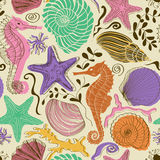Seamless pattern of sea animals Stock Photography