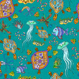 Seamless pattern of sea animals. Seamless sea pattern with different sea creatures and plants Royalty Free Stock Images
