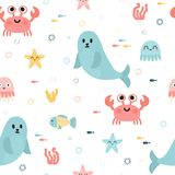 Seamless pattern with sea animals. Fish, starfish, jellyfish, seaweeds and seal. Childish texture for fabric or textile. Kids back. Ground. Vector illustration Royalty Free Stock Photo