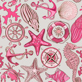 Seamless pattern of sea animals and nautical elements Royalty Free Stock Images