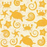 Seamless pattern with sea animals. Seamless pattern with turtles, crabs, stars and shells Royalty Free Stock Image