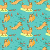 Seamless pattern with Sea cat and fish Royalty Free Stock Photos