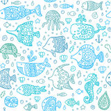 Seamless pattern with sea creatures Royalty Free Stock Photography