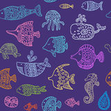 Seamless pattern with sea creatures Royalty Free Stock Photo