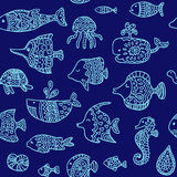 Seamless pattern with sea creatures Stock Photography