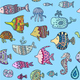 Seamless pattern with sea creatures Stock Photos