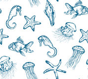 Seamless pattern with sea creatures. Seamless hand drawn pattern with sea creatures Royalty Free Stock Images