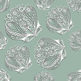 Seamless pattern with sea creatures 17. Seamless pattern (texture) with seashell (shell, mussel).Seafood infinite background. Vector illustration stock illustration