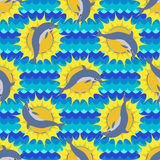 Seamless pattern with sea and dolphin Stock Images