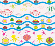 Seamless pattern with sea elements Royalty Free Stock Image