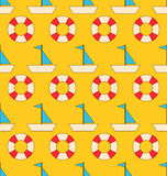 Seamless Pattern with Sea Elements: Sailboats and Lifebuoy Stock Photography