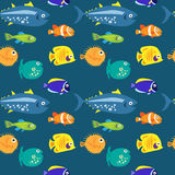 Seamless pattern with sea fish on a blue background Stock Image