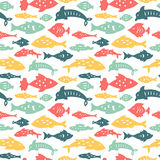 Seamless pattern with sea fishes. Stock Images
