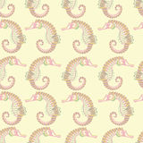 Seamless pattern.sea horse. cream background Stock Photography