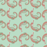 Seamless pattern. sea horse. green background Royalty Free Stock Photography