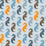 Seamless Pattern with Sea Horses Stock Photography