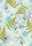Seamless Pattern with Sea-horses Stock Photo