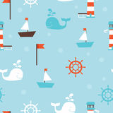 Seamless pattern with sea icons, cute childish background Stock Photography