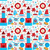 Seamless pattern with sea icons on white background. Seamless pattern. Red and blue. vector Stock Photos