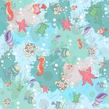 Seamless pattern with sea inhabitants Royalty Free Stock Photo
