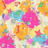 Seamless pattern with sea inhabitants Stock Photography