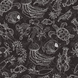 Seamless pattern with sea inhabitants on a dark background Royalty Free Stock Images