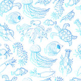 Seamless pattern with sea inhabitants on a white background Stock Images