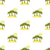 Seamless pattern, sea island with palm trees and blue contours. Royalty Free Stock Photography