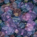 Seamless pattern Sea life Stock Image